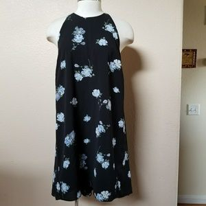 Mossimo black floral high neck flowy tunic dress